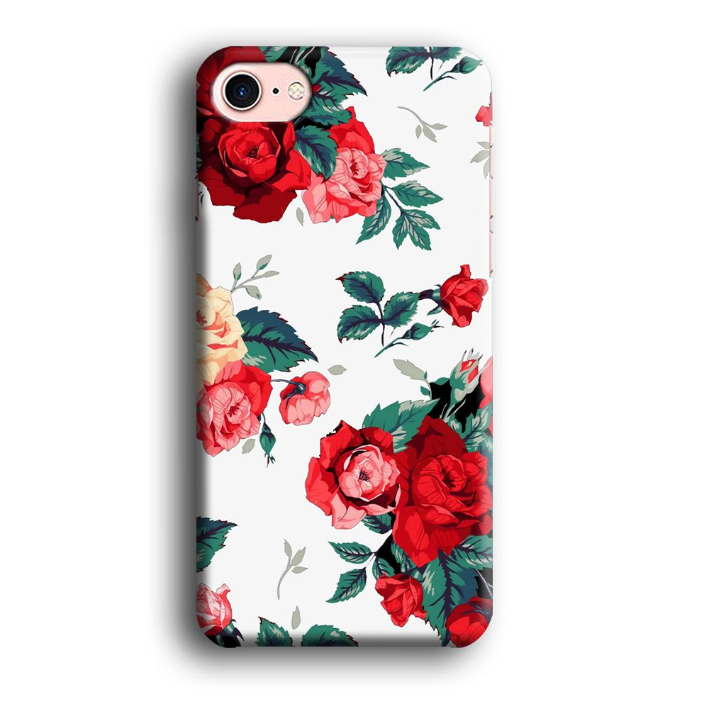 Flower Big Red Rose iPhone 7 3D coque custodia fundas