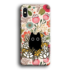 Flower Cat Bucket iPhone X 3D coque custodia fundas