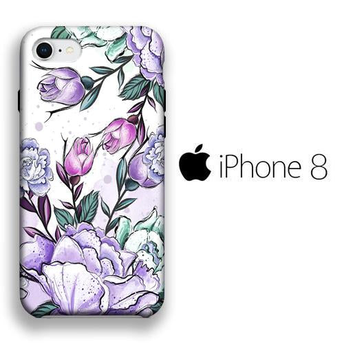 Flower Purple Lisianthus iPhone 8 3D coque custodia fundas