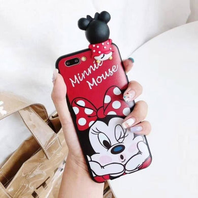 Coque iPhone XS Style A 3D dessin animé point Minnie cheveux balle longe  silicone iphone MAX samsung Galaxy S10 S9 S8 Note 9
