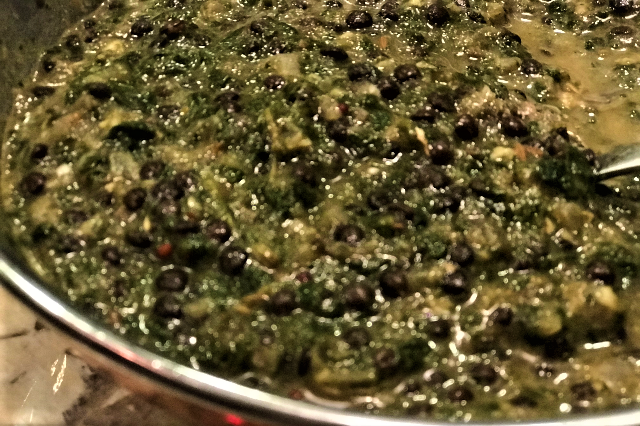 Spinach and Black Caviar Lentils