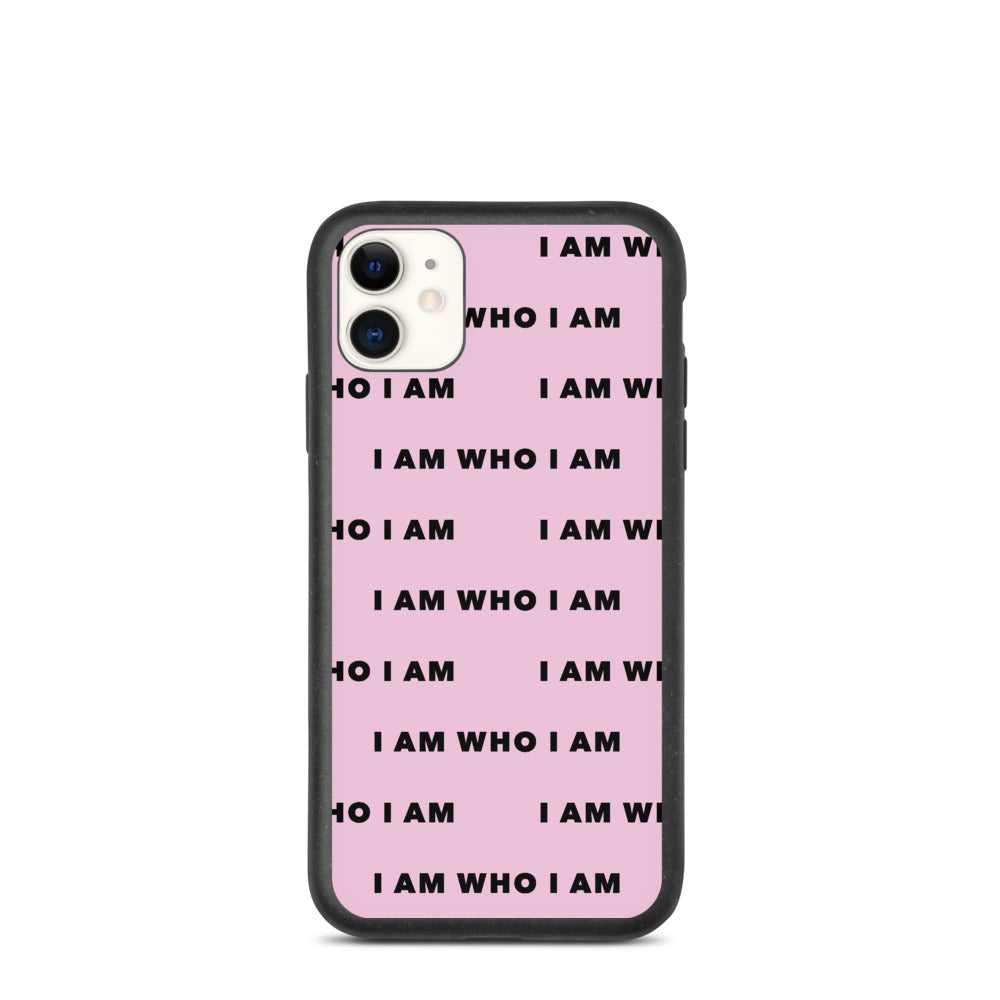 I Am Who I Am Biodegradable iPhone Case (Pink)