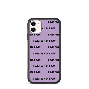 I Am Who I Am Biodegradable iPhone Case (Purple)
