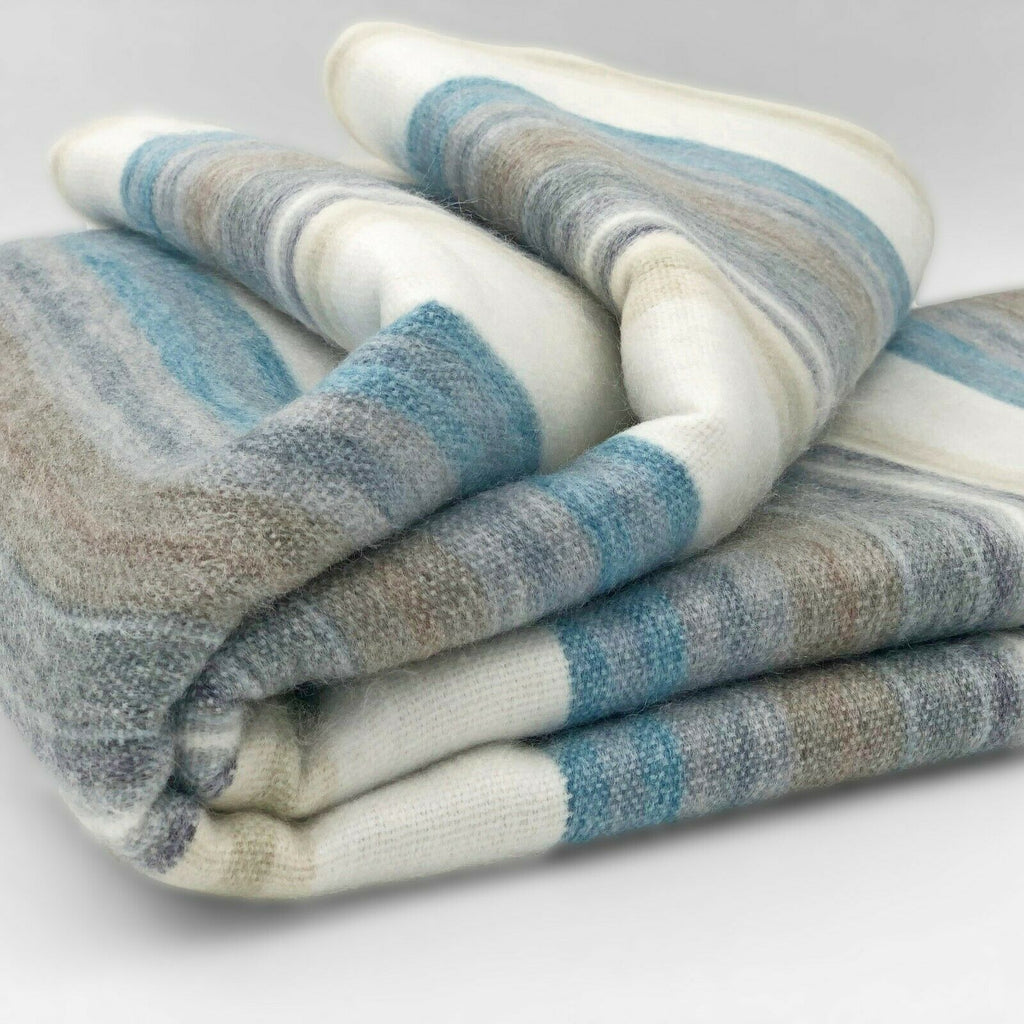 "Soft & Warm Baby Alpaca Wool Throw Blanket / Sofa Cover - Queen 95"" x 65"" - multi colored thin stripes pattern"