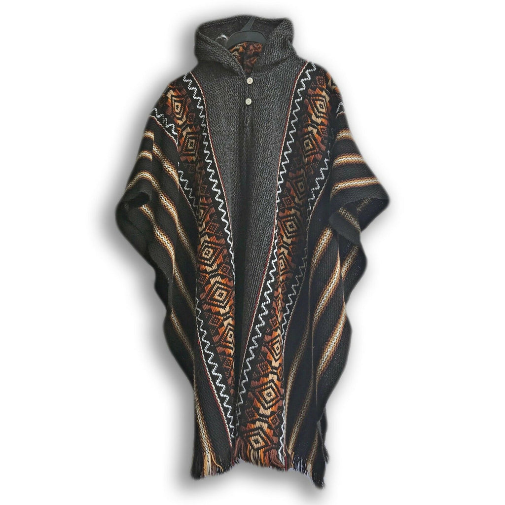 Llama Wool Unisex South American Handwoven Hooded Poncho - striped with diamonds pattern