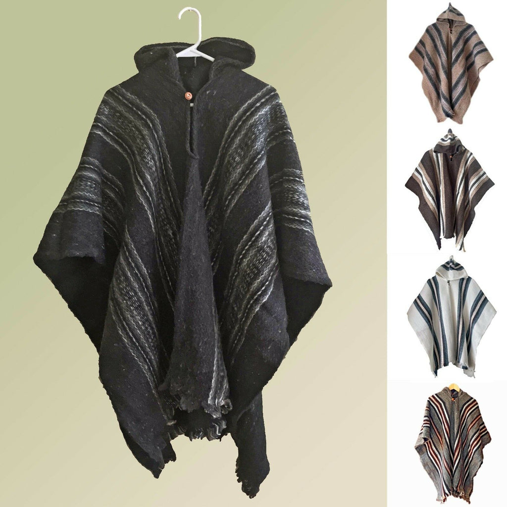 Llama Wool Unisex South American Handwoven Poncho