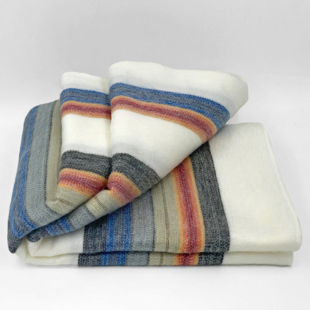 "Soft & Warm Baby Alpaca Wool Throw Blanket / Sofa Cover - Queen 90"" x 65"" - multi colored thin stripes pattern"