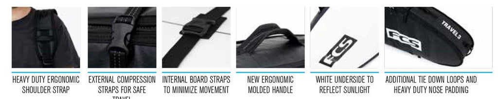 FCS Travel 3 Funboard Wheelie Bags