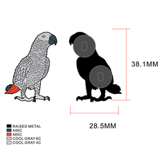 African Grey Enamel Pin