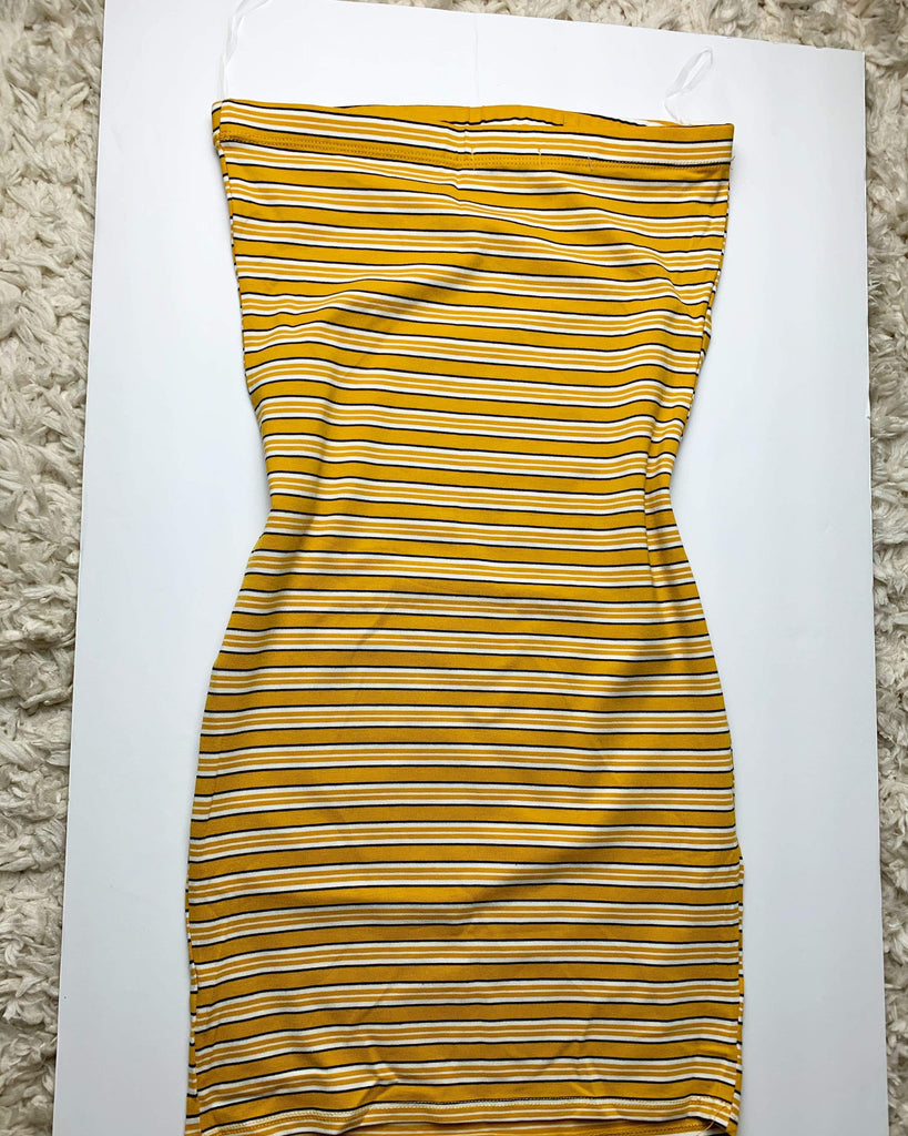 Mustard Striped Tube Dress