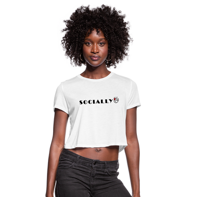 Socially Distant Crop Top - white