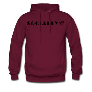 Socially Distant Hoodie - burgundy
