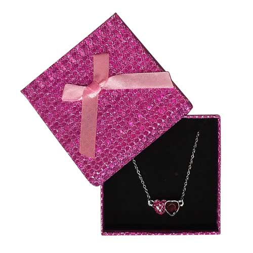 RUBY DOUBLE HEART NECKLACE