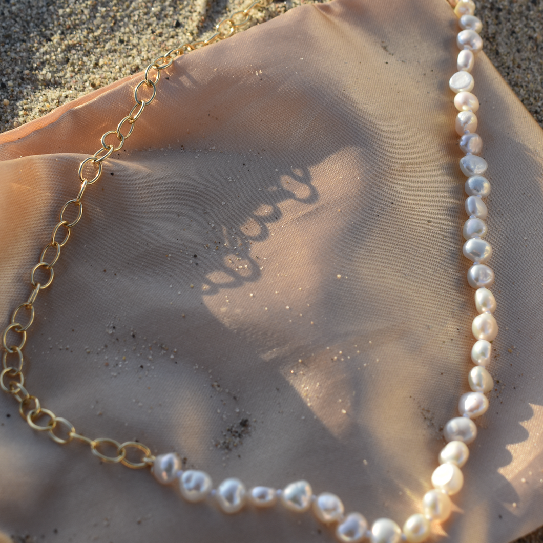 circle chain pearl necklace