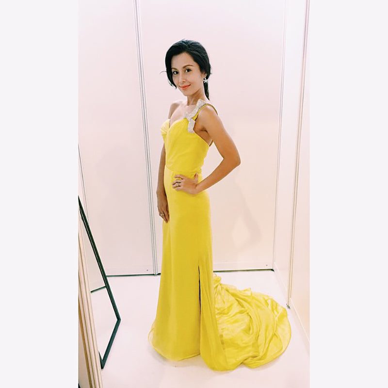 Priscelia Chan in yellow gown