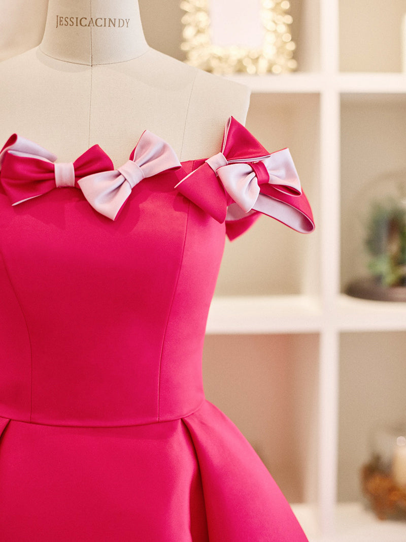 Structured pink short dress with ribbon accents
