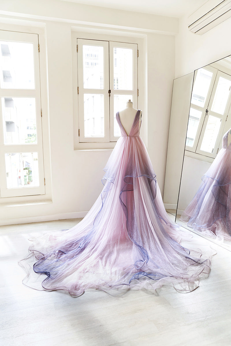 Evening gown with glitter and pink and purple gradient