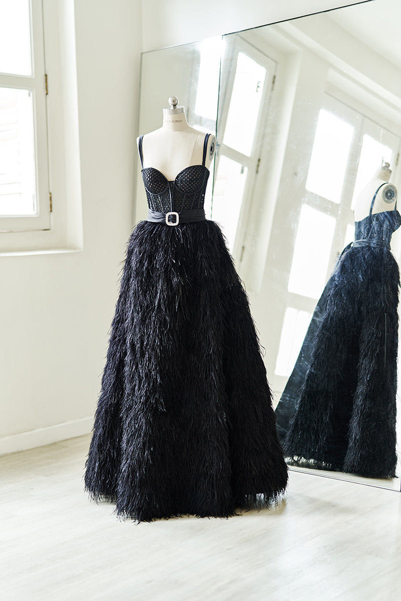 Black jumpsuit with ball gown skirt and belt