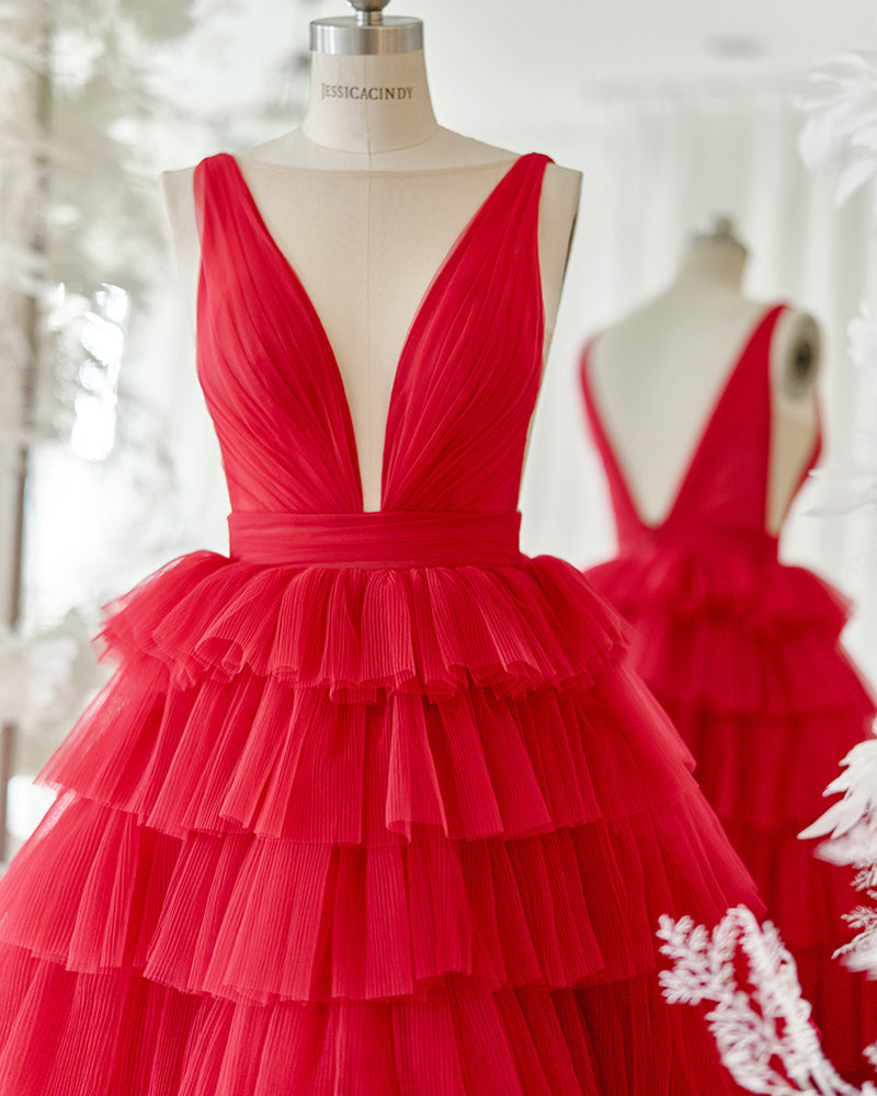 Red tiered evening gown