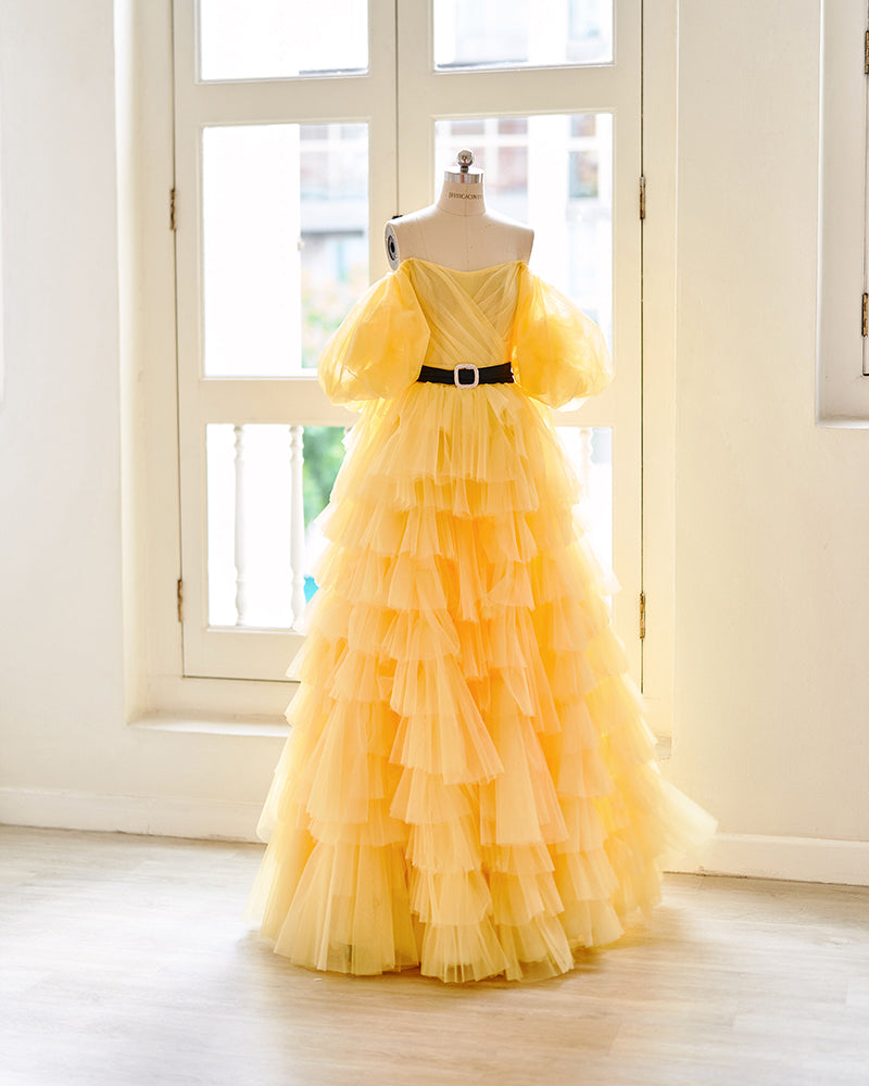 Yellow puff sleeves evening gown