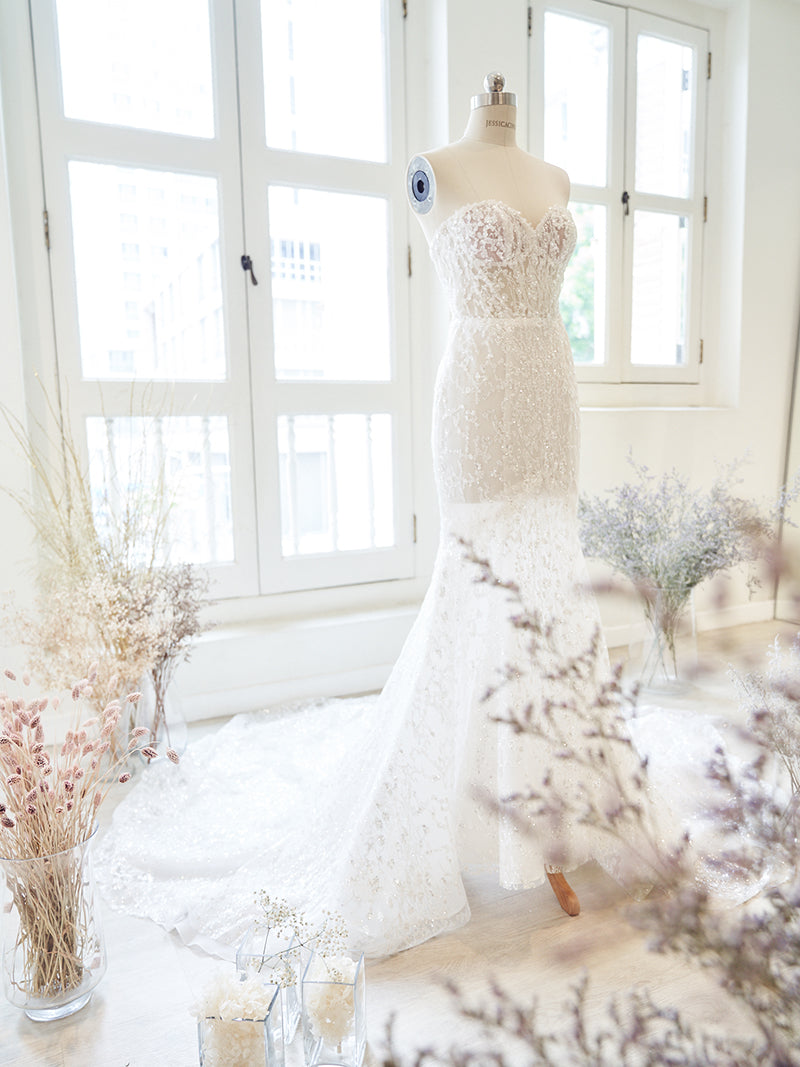 Mermaid wedding gown with glitter