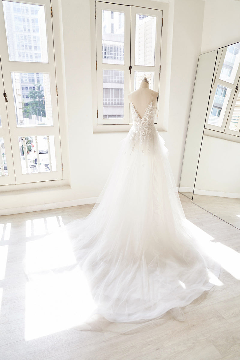 Wedding gown with lace applique
