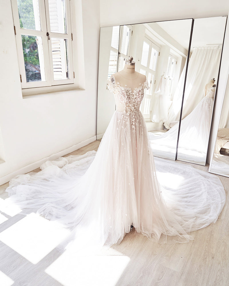 A-line wedding gown with floral applique