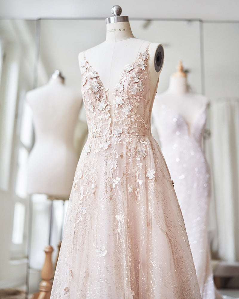 Blush evening gown with lace applique