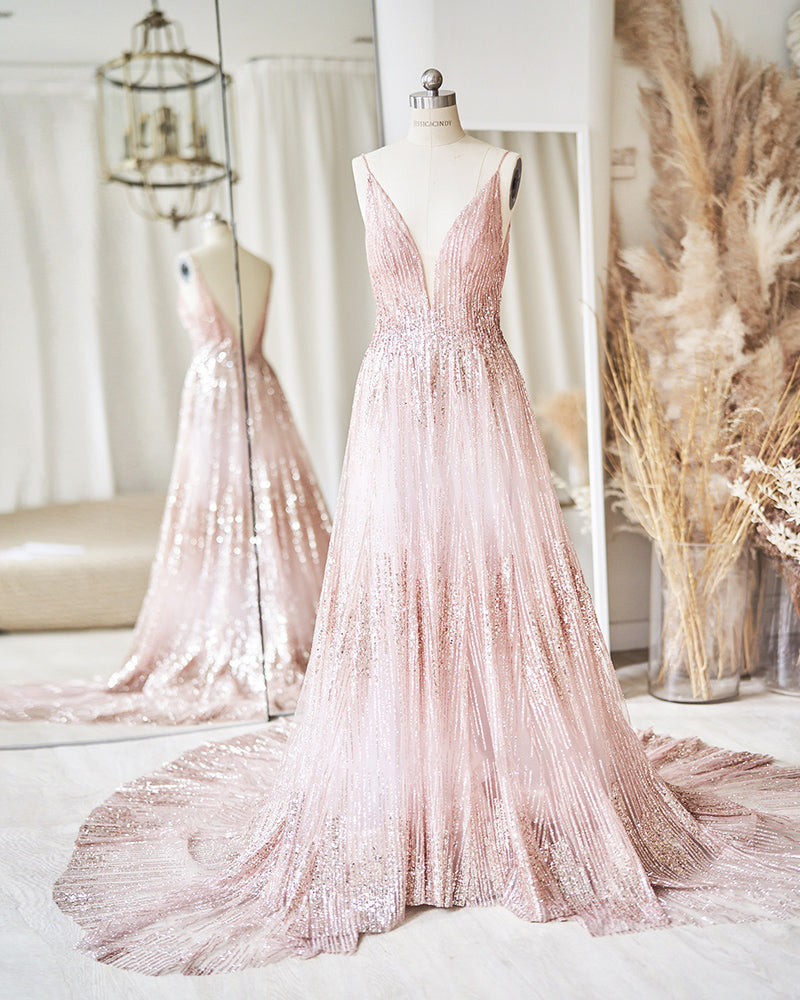 Pink v-neck evening gown with glitter