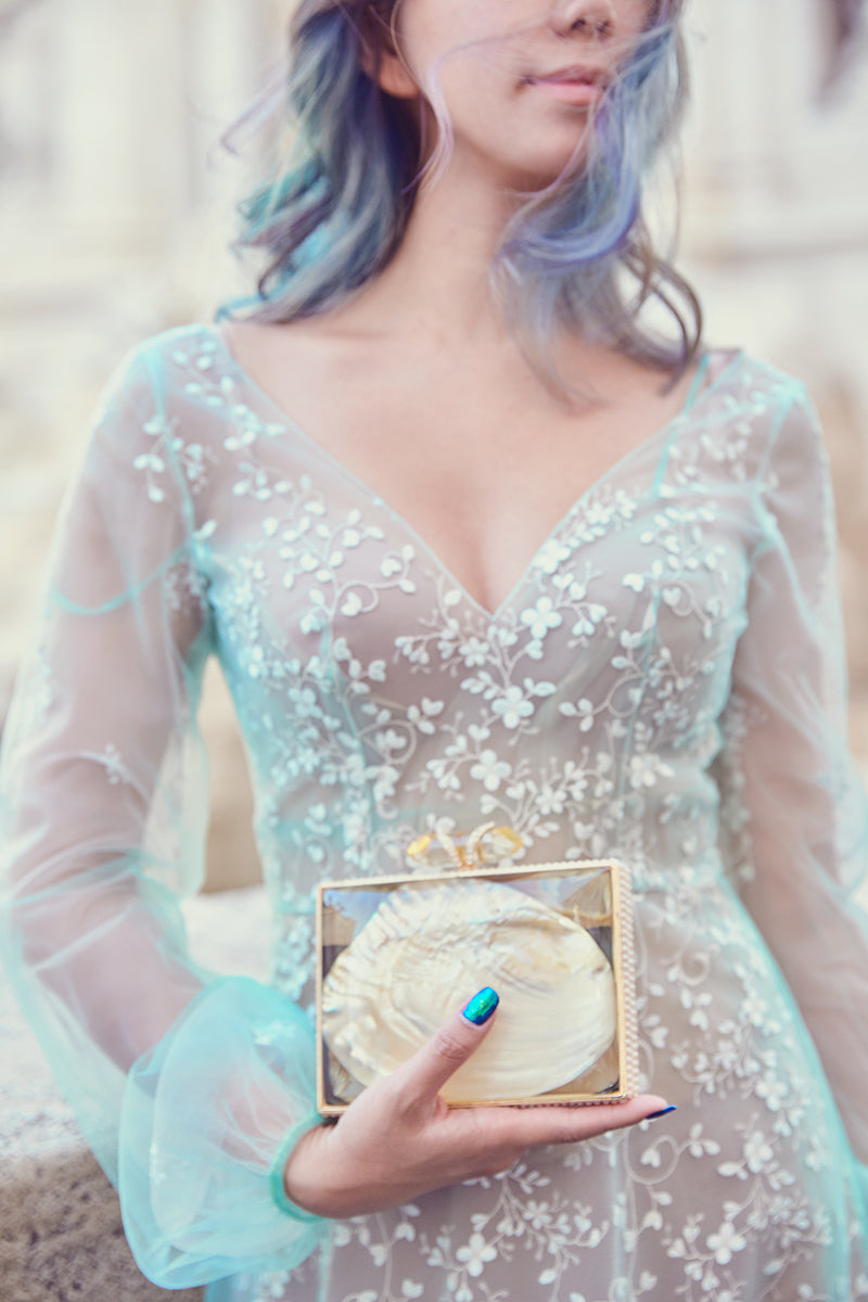 Jessicacindy in pastel blue long sleeve evening gown