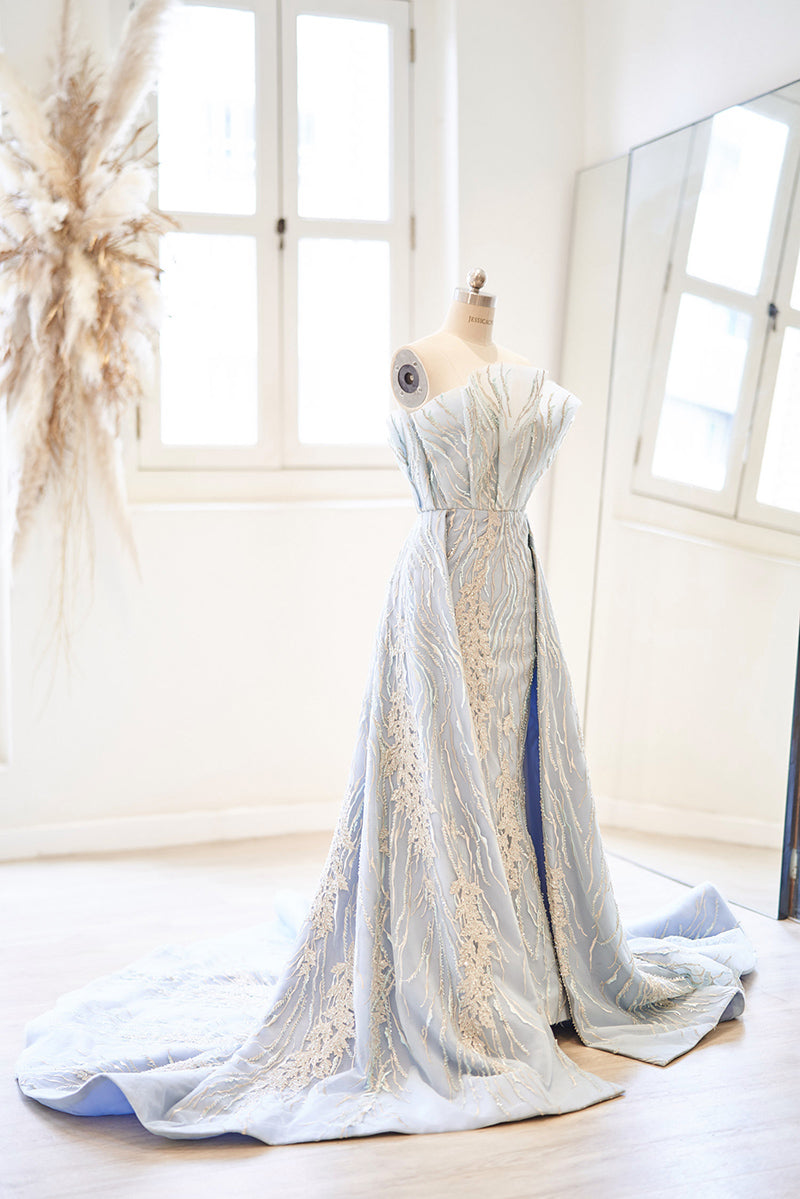 Pastel blue beaded evening gown