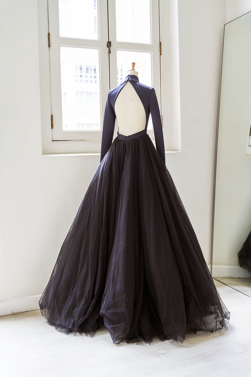 Black long sleeves evening ball gown