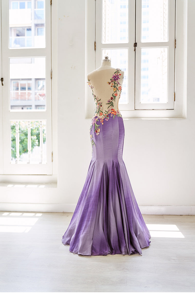 Purple floral embroidery mermaid gown