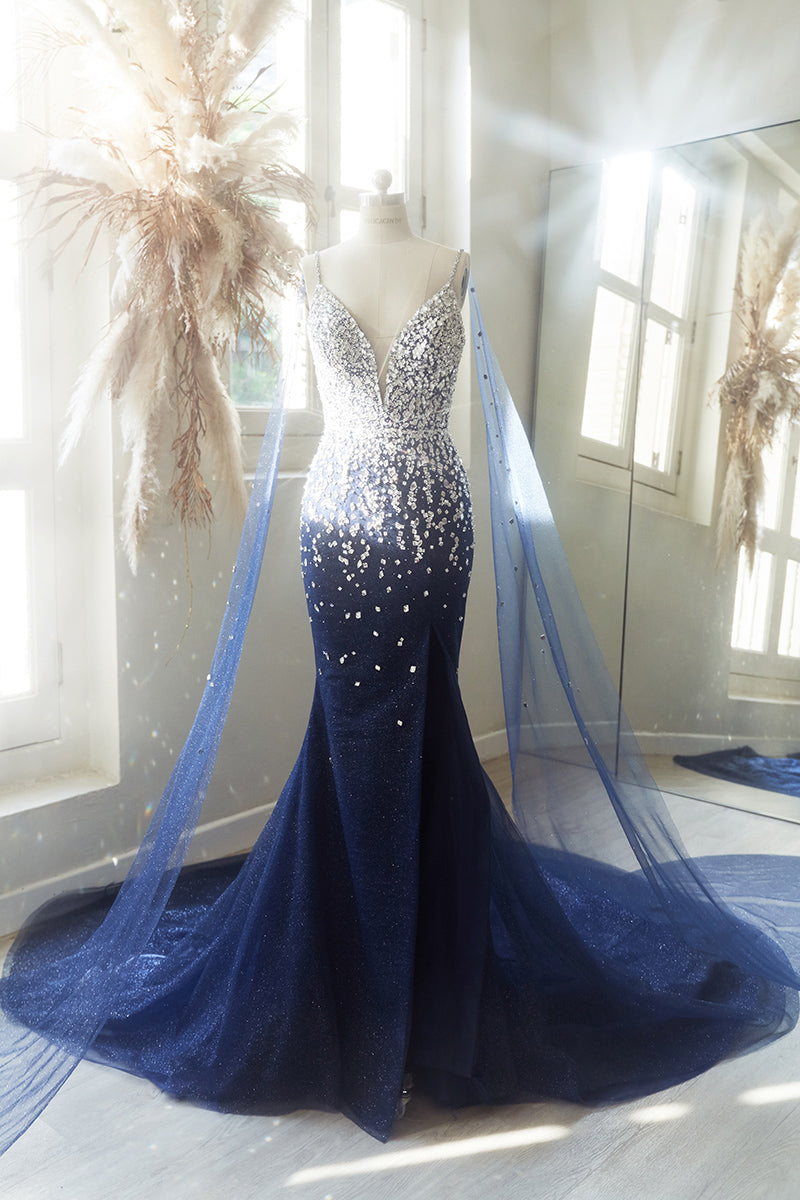 Crystal encrusted blue evening gown