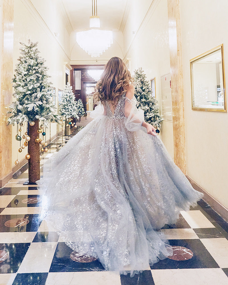 Jessicacindy in grey evening gown with puff sleeves and glitter