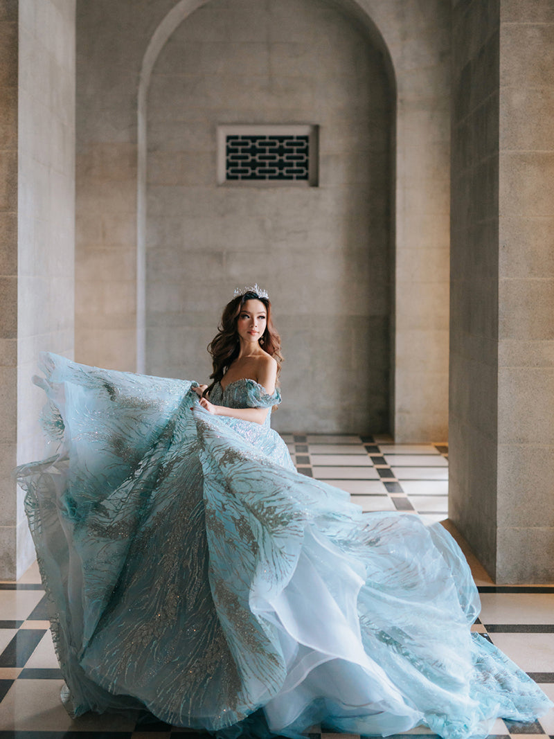 Willabelle Ong in bespoke blue evening gown