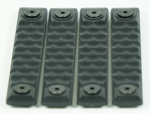 RAILSCALES HTP KEYMOD HONEYCOMB 5 HOLE BLACK 4 PACK