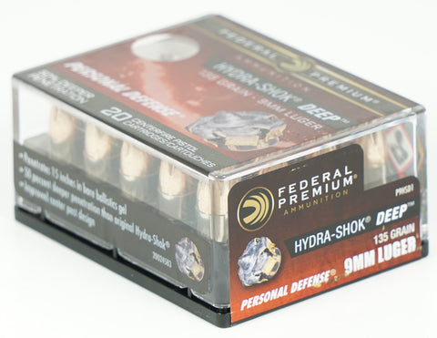FEDERAL HYDRA-SHOK DEEP 9MM 135GR HP 20 RDS