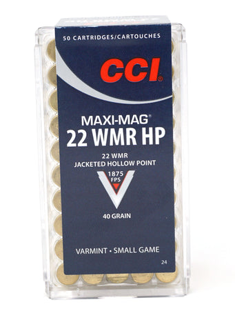 CCI 0024 Varmint Maxi Mag 22 Win Mag Jacketed Hollow Point 40 GR 50 RDS