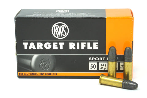 RWS 2132478 22LR LEAD ROUND NOSE 40GR TARGET RIFLE 50 RDS