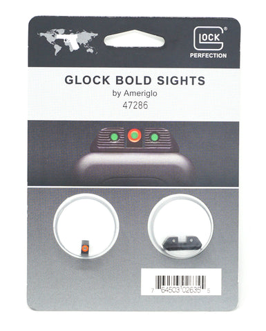 GLOCK 47286 BOLD SIGHTS ALL GLOCK .220 GREEN TRITIUM W/ ORANGE OUTLINE