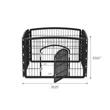 "Load image into Gallery viewer, 24"" 4 Panel Dog Playpen with Door IRIS USA Black -"