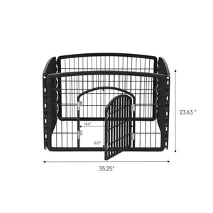 "24"" 4 Panel Dog Playpen with Door IRIS USA Black -"