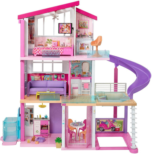 Barbie Dreamhouse Dollhouse with Wheelchair Elevator Pool Slide 70 Accessories -