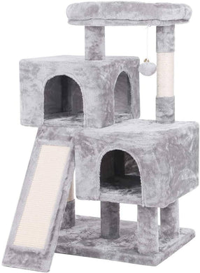 BEWISHOME Cat Tree Condo with Sisal Scratching Posts Scratching Board Light Grey -