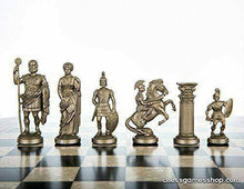 "Load image into Gallery viewer, Chess Set  Roman Size 17"" Vinyl Chess Board USA MADE 3"" Roman Chess Pieces -"
