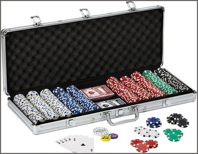 Fat Cat 11.5 Gram Texas Hold 'em Clay Poker Chip Set with Aluminum Case, 500 Striped Dice Chips -