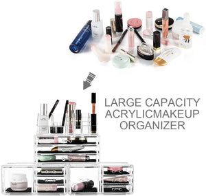 Felicite Home Acrylic Jewelry and Cosmetic Storage Makeup Organizer Set 4 Piece -