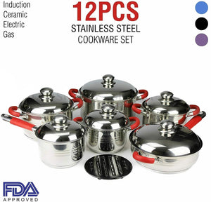 Cookware Set Stainless Steel Induction Ceramic German IMPORT 12PC - g
