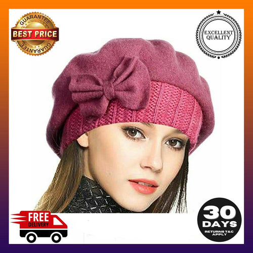 French Beret Dress Beanie Winter Hat  Luxury Lady Wool - g